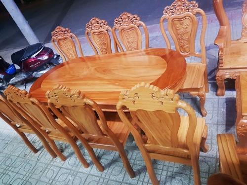 Bộ bàn ăn hình eclip 8 ghế - Bộ Bàn Ăn