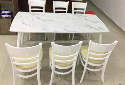Bộ bàn ăn mặt đá BA1025 - Bộ Bàn Ăn