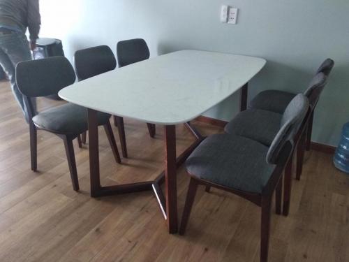 Bộ bàn ăn mặt đá BA1034 - Bộ Bàn Ăn