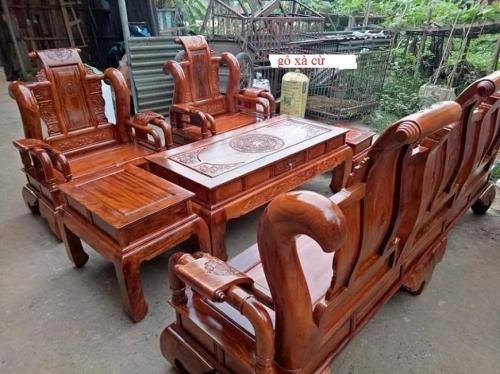 bộ bàn ghế phòng khách tần thủy hoàng gỗ xà cừ tay 12 hàng 6 món - Bàn Ghế Gỗ Phòng Khách