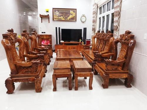 Bộ salon gõ đỏ tay 12, 10 món hàng cao cấp - Bàn Ghế Gỗ Phòng Khách