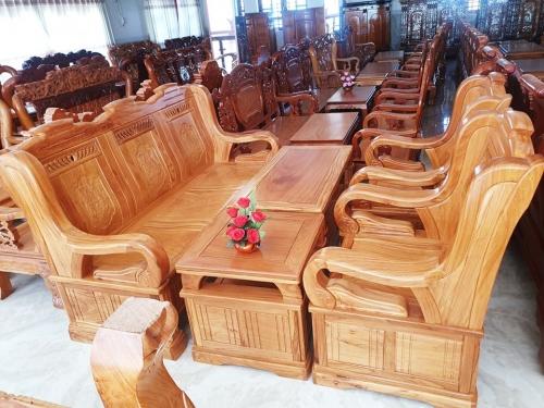 Bộ Salon gỗ hoa văn 6 món giá rẻ - Bàn Ghế Gỗ Phòng Khách