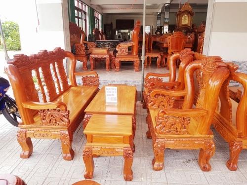 Bộ salon gỗ tay 12 chạm rồng 6 món - Bàn Ghế Gỗ Phòng Khách