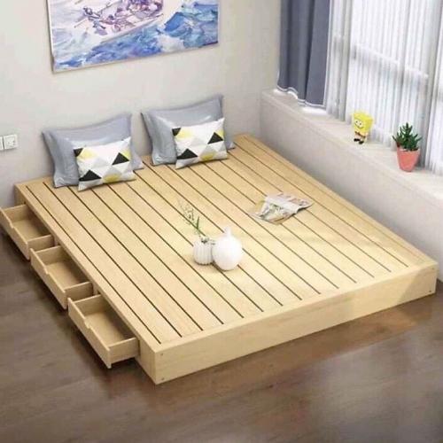 Giường ngủ gỗ thông 1m6 2 ngăn kéo - Giường ngủ