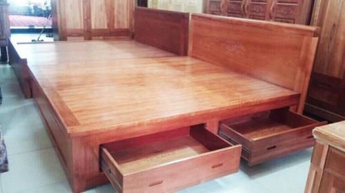 Giường ngủ gỗ xoan đào 1 m 6 có 2 học kéo giá rẻ dát phản - Giường ngủ