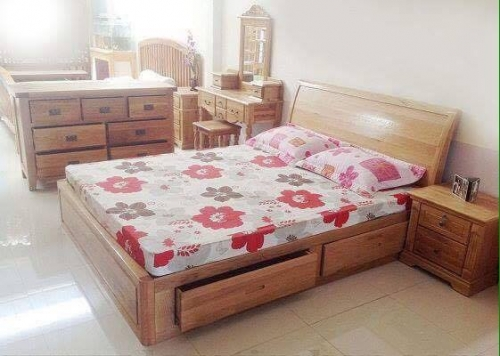 Giường ngủ gỗ xoan đào 2 học kéo GN1004 - Giường ngủ