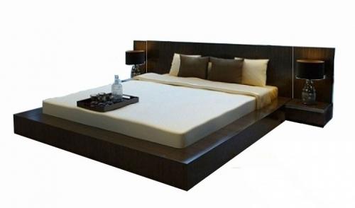 Giường Ngủ Màu Đen Đẹp Kiểu Nhật Gỗ Xoan Đào 1m6 - Giường ngủ
