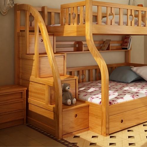 Gường 2 tầng trên 1m2 dưới 1m4 gỗ thông