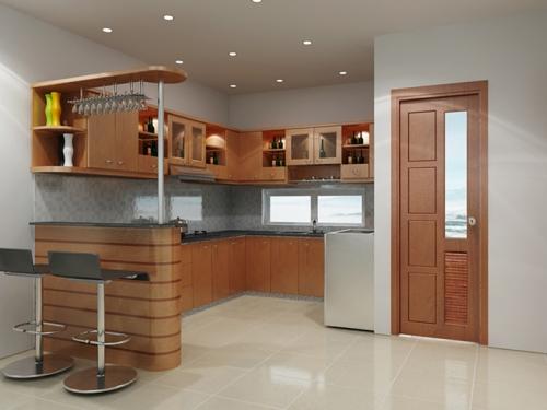 Tủ bếp xoan đào TB1119 - Tủ bếp gỗ